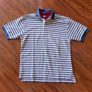 Vintage 90s Tommy Hilfiger Big Flag Striped Polo